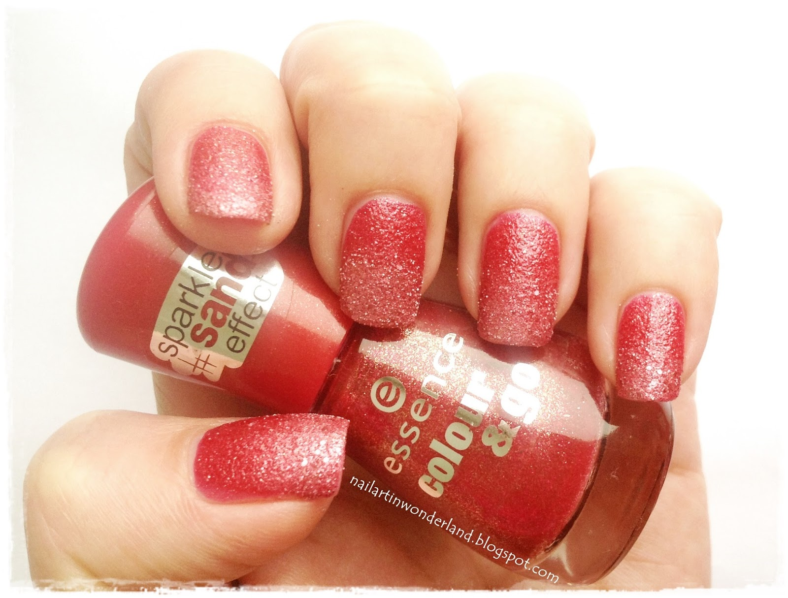 Essence Color & Go Sparkle Sand Effect Nail Polishes: Me & My Lover and Hello Rosy
