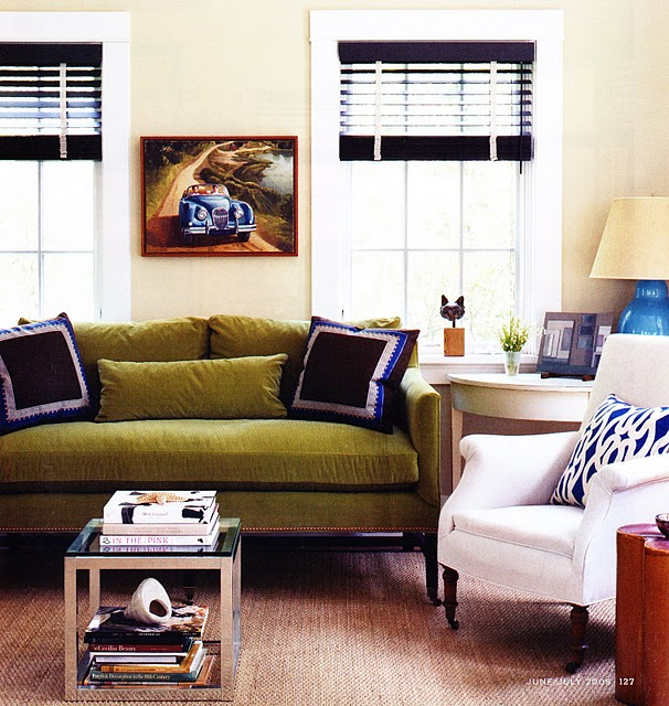 Denise briant interiors do you have a green sofa for Living rooms with olive green couches