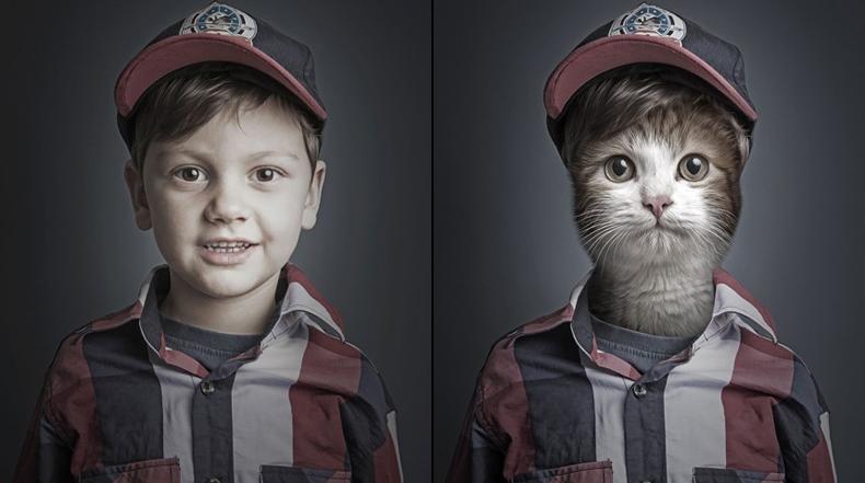 Caras de gatos se fusionan en las de sus amigos humanos