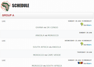 African Cup of Nation 2013 schedule