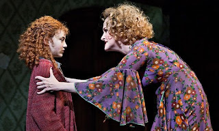 Katie Finneran (Miss Hannigan) teaches Lila Crawford (Annie) it's a hard knock life.