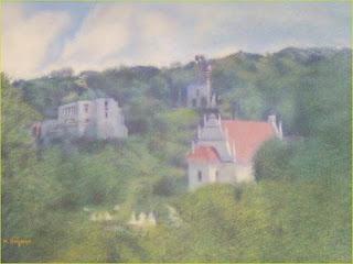 obraz autorstwa Marka Strójwąsa przedstawiający widok Kazimierza Dolnego malowany w plenerze na nadwiślańskim bulwarze