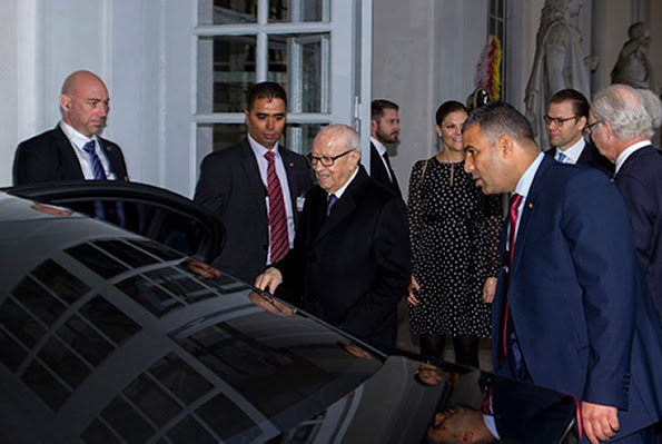 Crown Princess Victoria and Prince Daniel said farewell to the Tunisian President, Beji Caid Essebsi and wife Saida Caid Essebsi