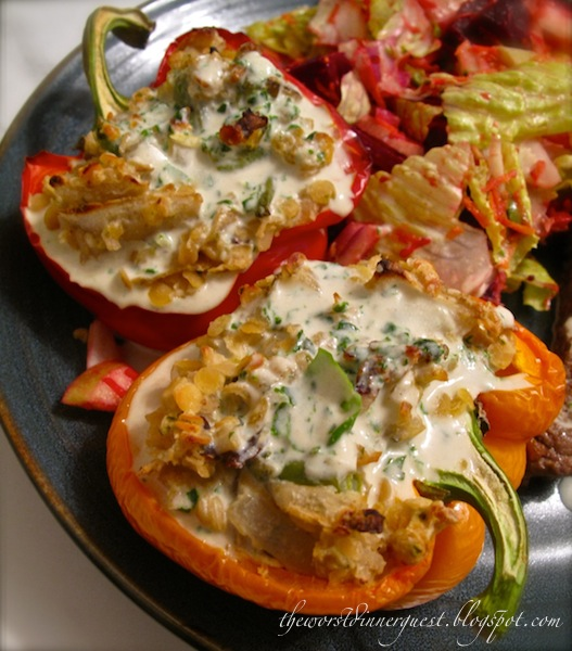 Lentil and Wild Rice Stuffed Bell Peppers with Creamy Basil Tahini ...