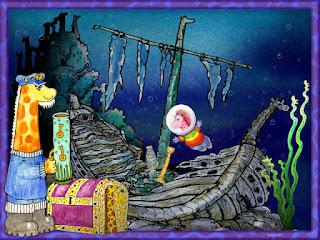 Underwater Adventure Captain Gurgle's Tea Shanty The Neckmanns of Giraffe World Exhibition by North East Artist Ingrid Sylvestre at University of Durham Botanic Garden featuring her characters the Neckmanns in their World Artwork and Stories by Ingrid Sylvestre UK Artist & Writer