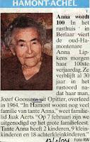 Anna Lipkens 1904-2007 vierde in het rusthuis haar honderdste verjaardag