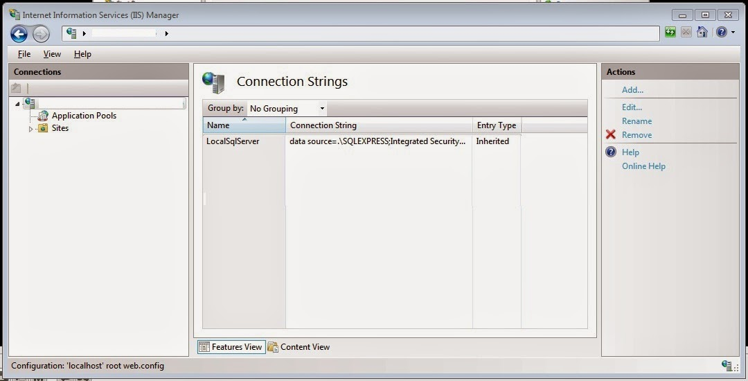 IIS 7 add connection