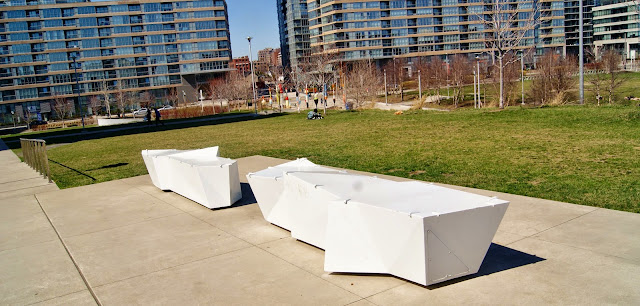 Douglas Coupland at Canoe Landing Park in Toronto, culture, public, installation, ciyplace artspace, art, artmatters, urban, fishing, ontario, canada, MOCCA, walking, tour,  iceberg benches
