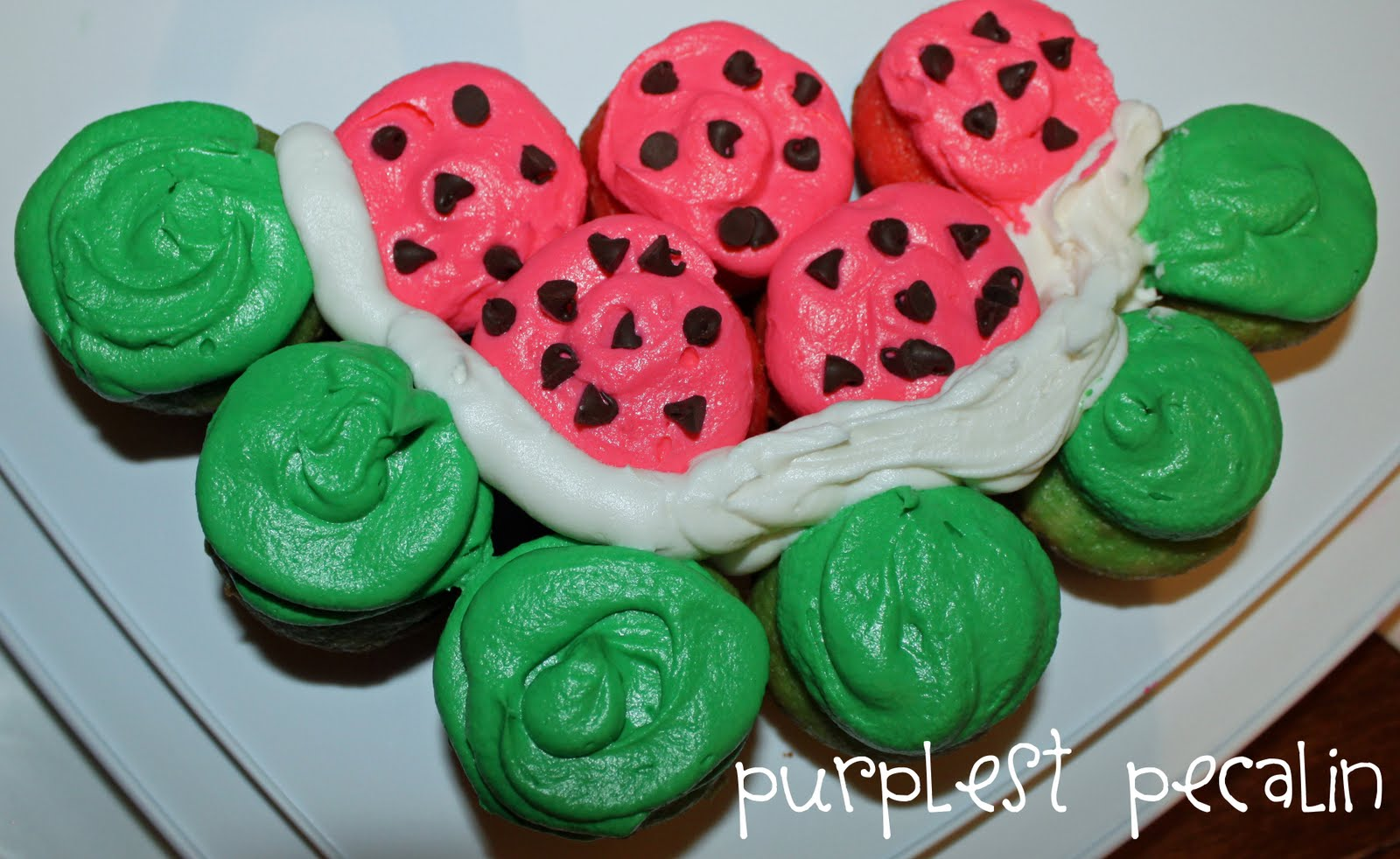 Purplest Pecalin: Mini Watermelon Cupcakes
