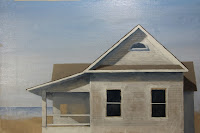 Work in Progress, the shore house, by Carroll Jones III, original oil painting of white house, in stages