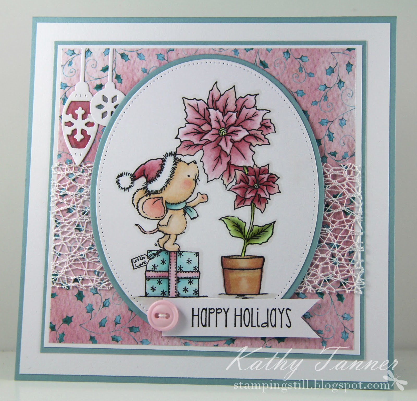 wild rose studio, mouse with poinsettia, row of baubles, snarky christmas