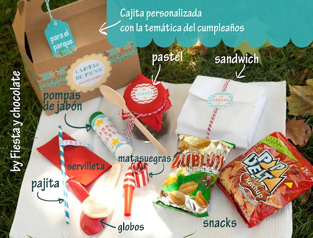 Contenido cajita de picnic cumpleaños en el parque