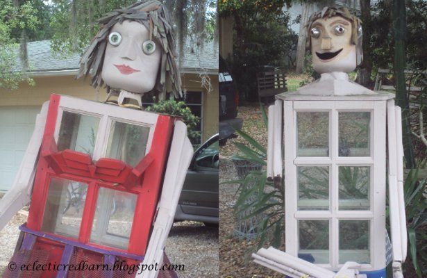 Eclectic Red Barn: Garden People from Old Windows and Other Parts