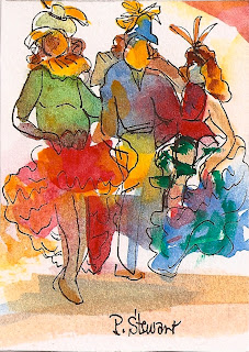 ACEO ATC Card watercolor 3 women at Mardi Gras
