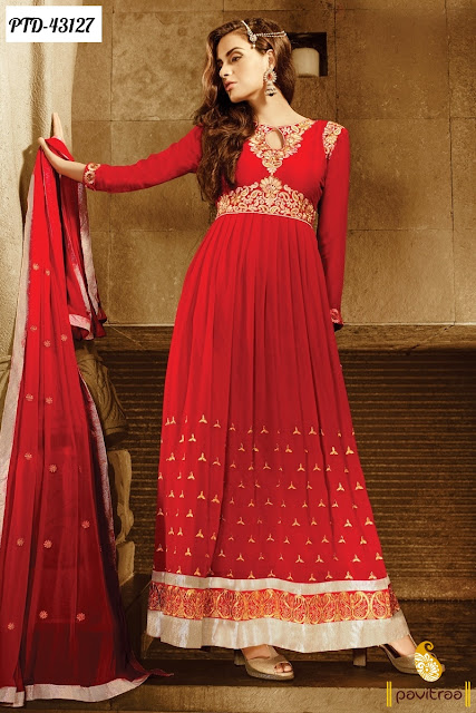 Karva Chauth special red santoon anarkali salwar suit online shopping at lowest price