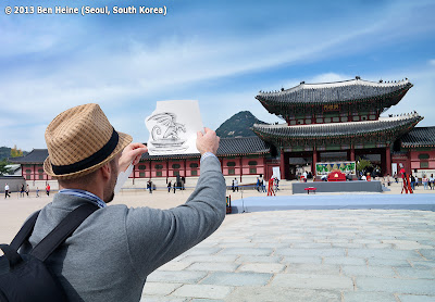 Ben Heine working on Pencil Vs Camera at Gyeongbokgung Royal Palace in Seoul, South Korea