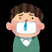 風邪・インフルエンザのイラスト「マスクと鼻水の男性」