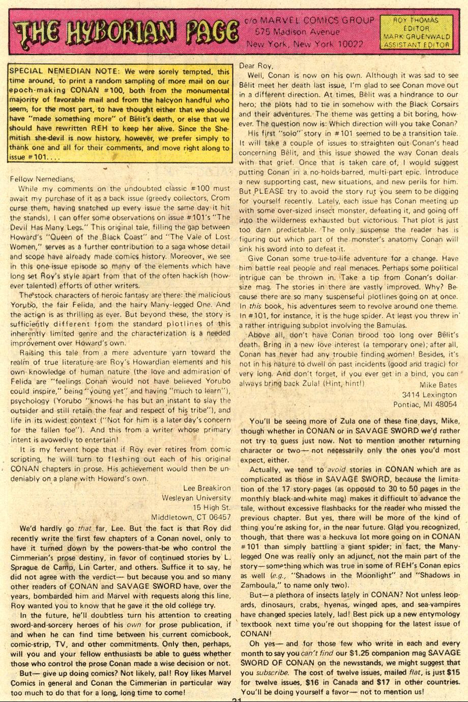 Conan the Barbarian (1970) Issue #106 #118 - English 21