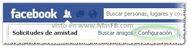 Configuración Solicitudes de Facebook