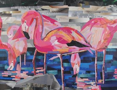 Flamingo Dancers by collage artist Megan Coyle