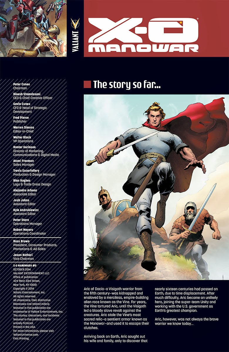 Valiants Preview X-O MANOWAR #0 Contents page