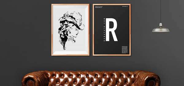 Download Poster Mockup PSD Terbaru Gratis - Wooden Art Frame v.2