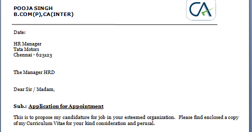 Job Application Letter Sample By Email