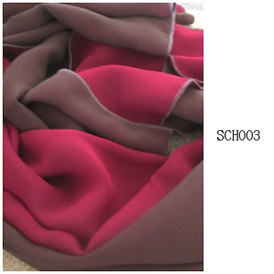 shawl chiffon 2 layer maroon, dark brown