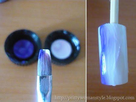 преливка с плоска четка и два цвята акрилна боя