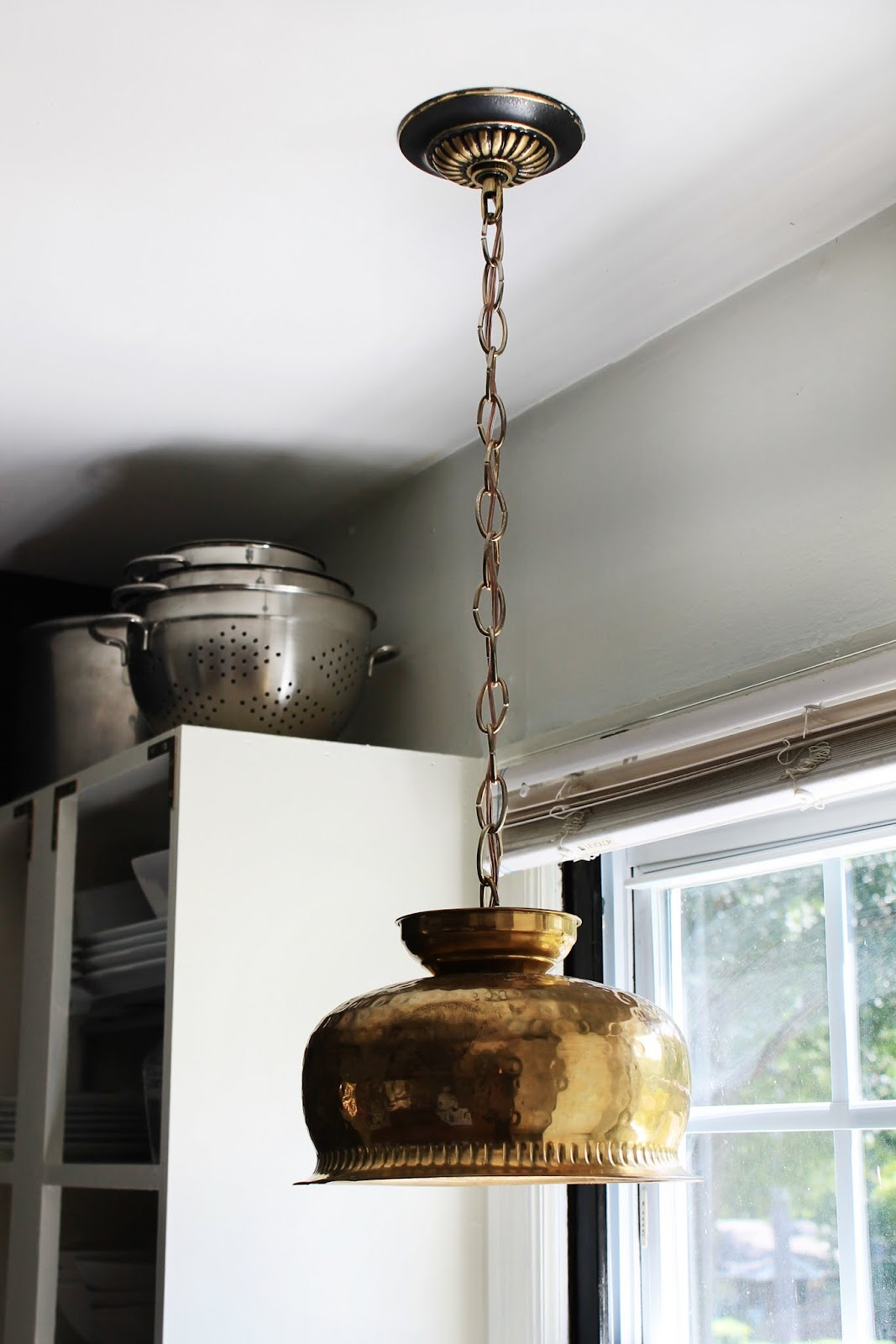 Hunted interior diy brass bowl pendant kitchen sneak peek for Diy pendant light