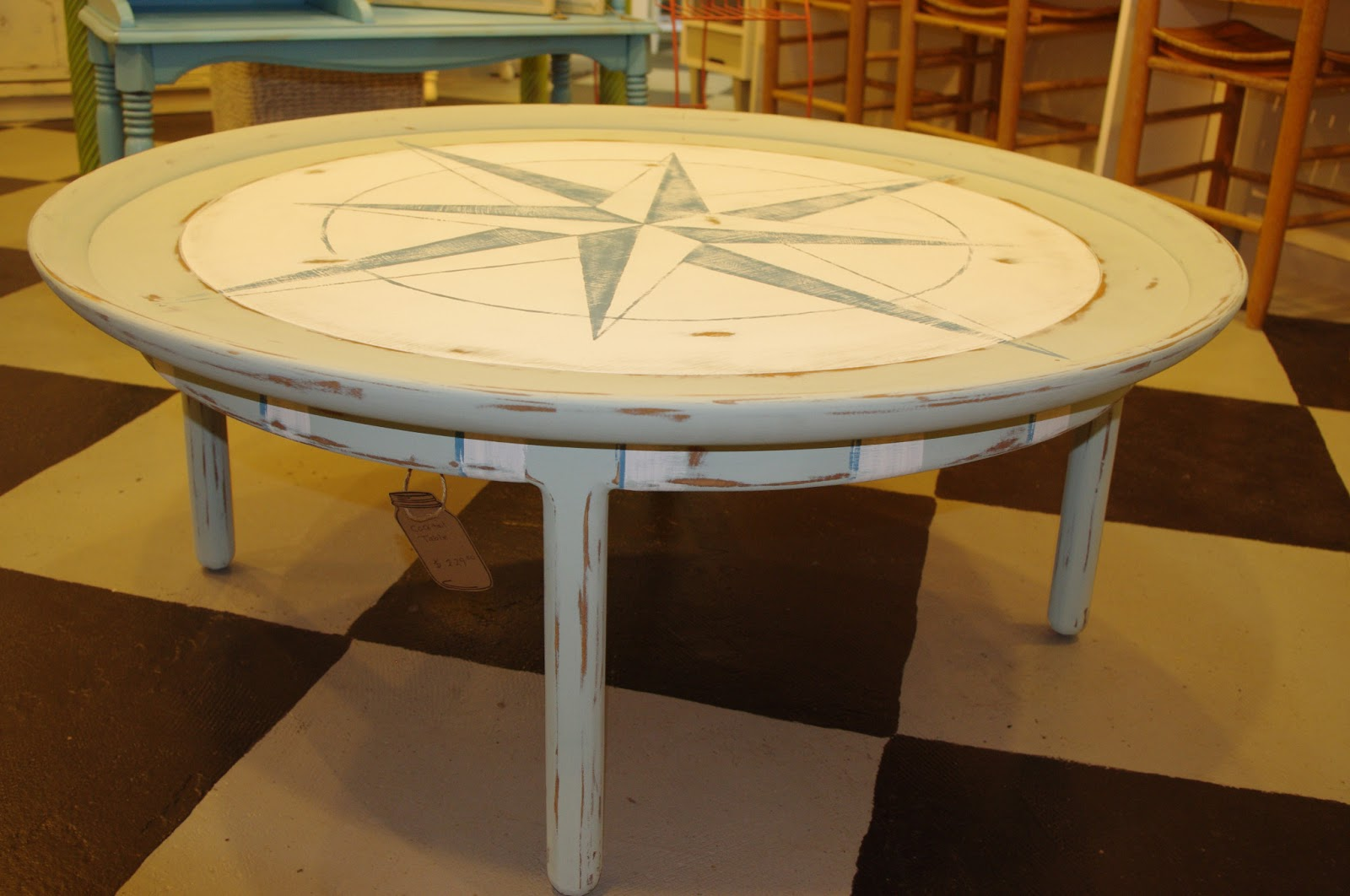 Coastal Chic Boutique Round Nautical Coffee Table Sold