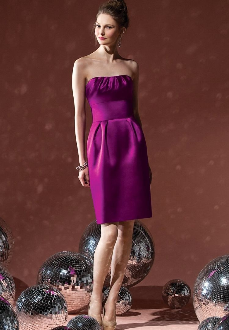 Satin Strapless A-line Short Bridesmaid Dress