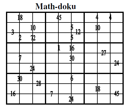 Math-doku (Guest Authors Sudoku #8)