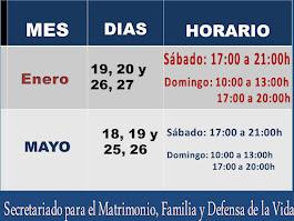 CURSOS DE PREPARACIÓN AL SACRAMENTO DEL MATRIMONIO Y LA VIDA FAMILIAR. FIN DE SEMANA 2019