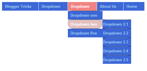 قائمة منسدلة زرقاء في الاصل وردية عند تمرير الماوس