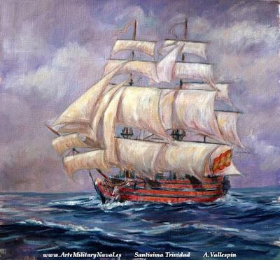 Pintura del navio Santísima Trinidad Amada Española