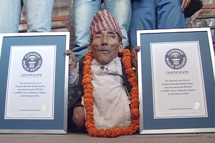 The Shortest adult human ever recorded after measuring his height three times in 24 hours. The chief editor of Guinness Book of World Records said that Chandra is the only person in Guinness' 57 years history to record the title of the shortest man at the age of 73.