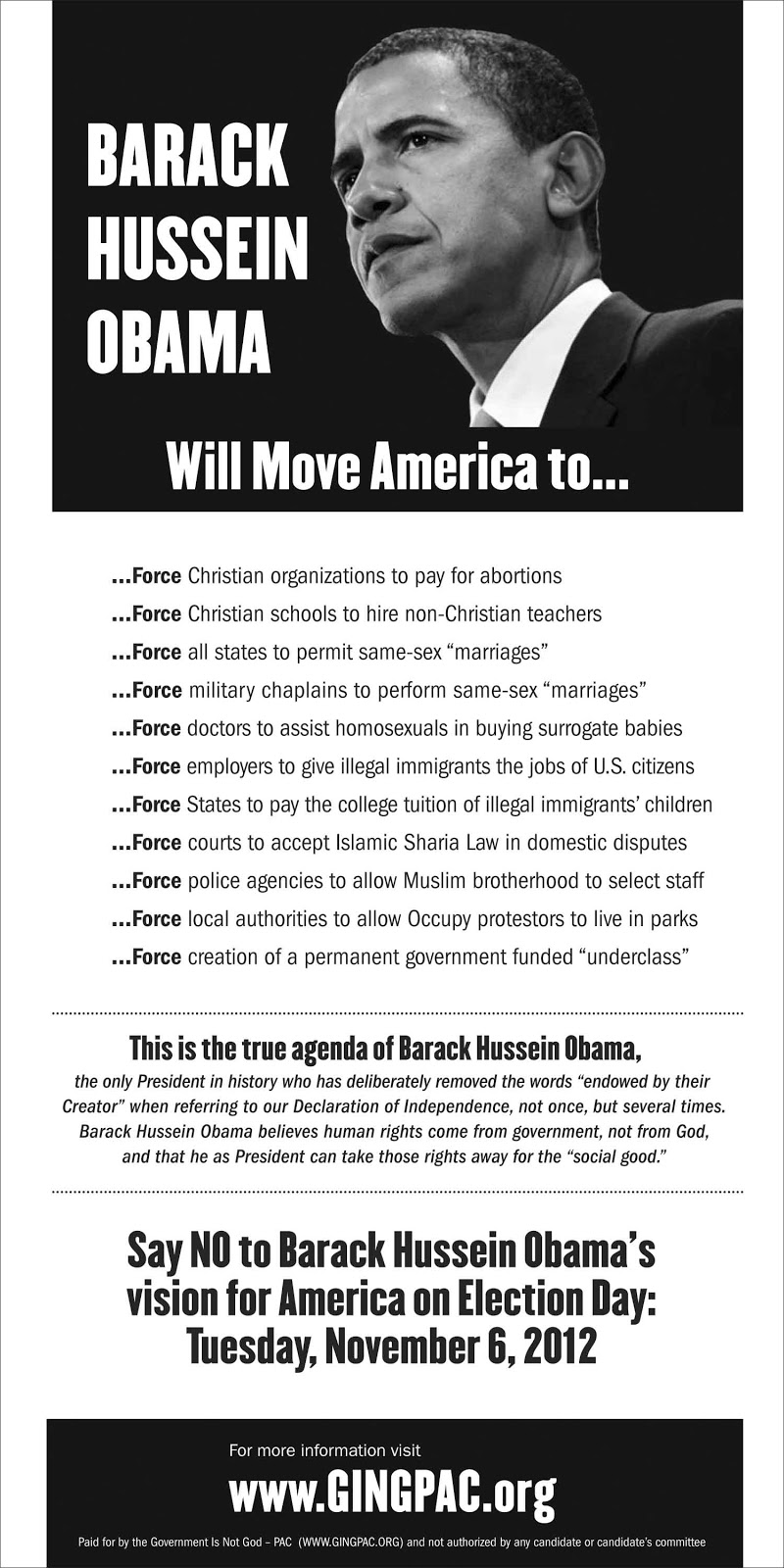 GINGpac political flyer filled with lies about Barack Obama