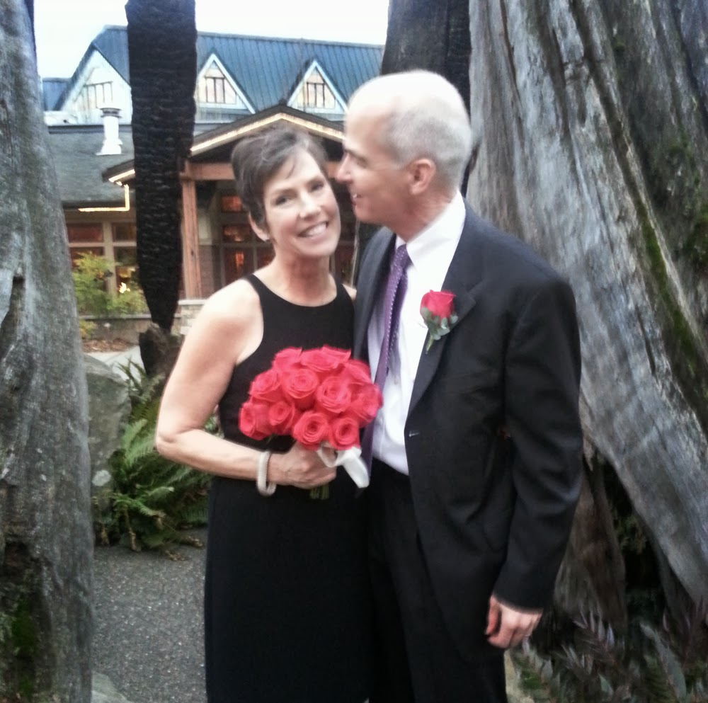 Newlyweds Sheila and John at Willows Lodge - Patricia Stimac, Seattle Wedding Officiant