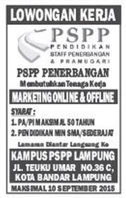 Lowongan kerja PSPP PENERBANGAN Lampung