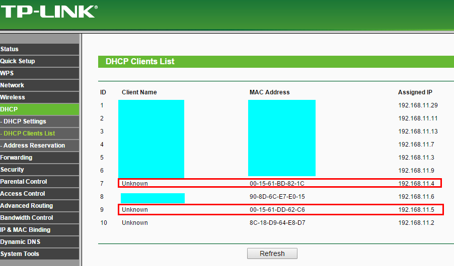 how to delete dhcp client list