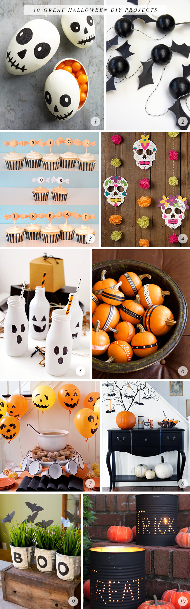 10 Great Halloween DIY Projects via Bubby and Bean