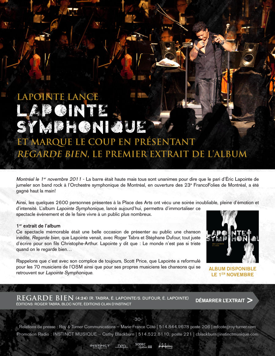 lapoint singles À l'ombre de l'ange followed in 1999 and proved lapointe's biggest hit to date, earning five félix awards and generating the chart-topping mon ange in 2002, he returned with his first live album, the two-disc adrénaline.