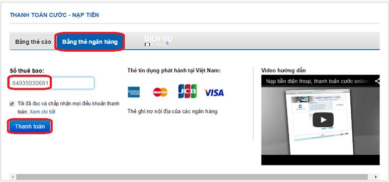 Hướng dẫn các bước thanh toán trực tuyến Mobifone1