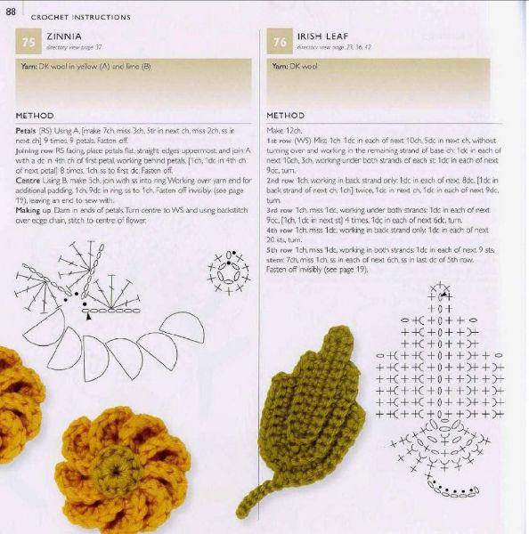 Una locura de ideas: Patrones flor de ganchillo y hoja