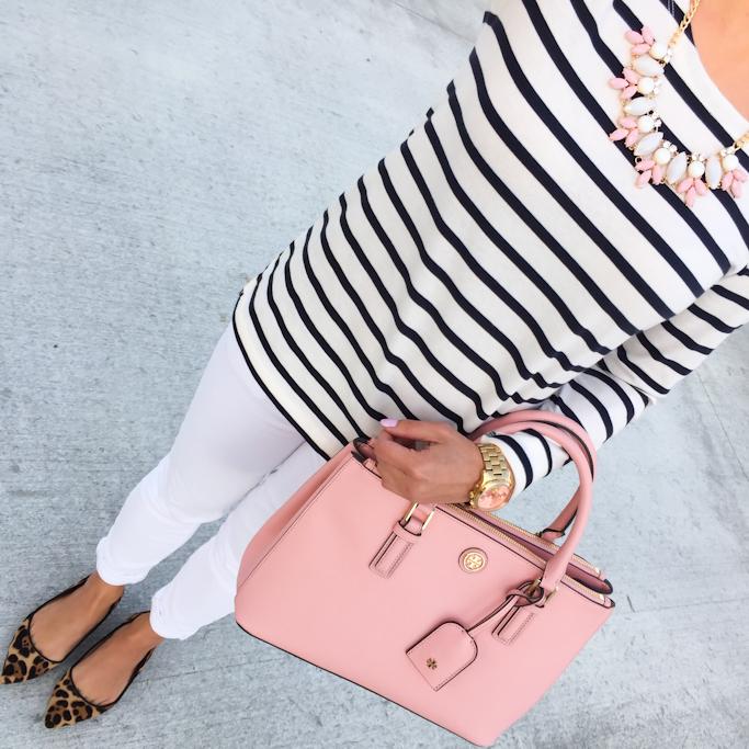 Ann Taylor cotton stripe shoulder zip shirt BP leaf necklace leopard flats Tory Burch pink mini Robinson tote