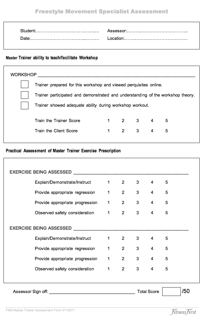Similiar Personal Training Client Assessment Forms Keywords – Trainer Evaluation Form