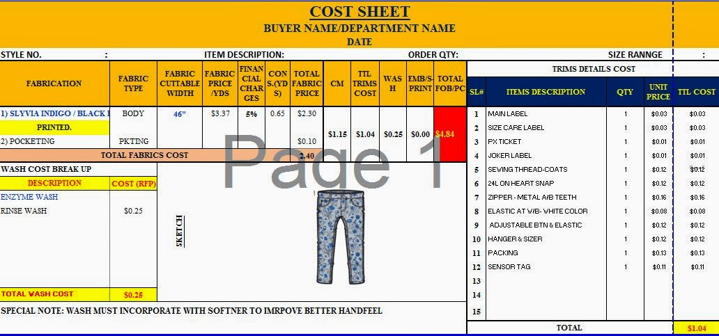 Textile Fiber Yarn Spinning Woven And Knit Fabric Dyeing - Cost sheet format in excel
