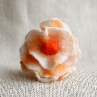 felted flower peach brooch