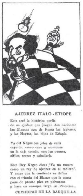 Dibujo y soneto en El Sol sobre ajedrez, 1936